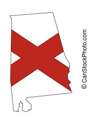State map outline of Alabama over a white background with state flag inset