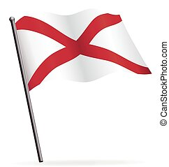 alabama state flag waving on flagpole vector