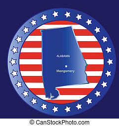 Alabama state map - Alabama state seal stamp usa