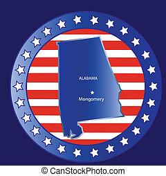 Alabama state map - Alabama state seal stamp usa