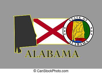 Alabama state map, flag, seal and name.