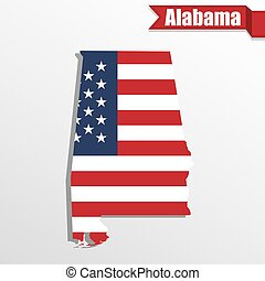 Alabama State map with US flag inside and ribbon