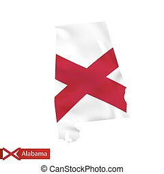 Alabama state map with waving flag of US State.