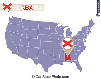 Alabama State on USA Map. Alabama flag and map.