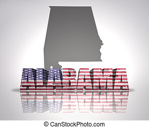 Alabama State - Word Alabama with National Flag of USA near...