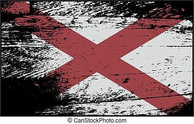 alabama tillstånd, flagga, grunged