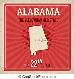 Alabama travel vintage grunge poster, vector illustration