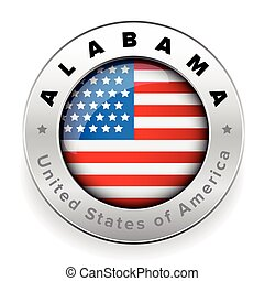 Alabama Usa flag badge button
