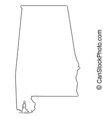Alabama (USA) outline map with shadow. Detailed, Mercator projection.