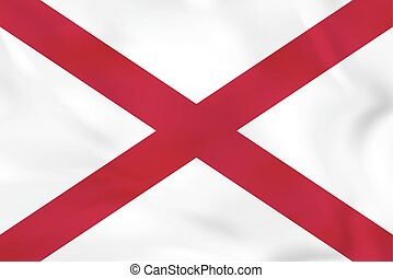 Alabama waving flag. Alabama state flag background texture.
