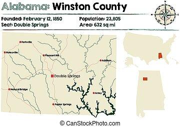 Alabama: Winston county map.