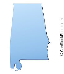 Alabama(USA) map filled with light blue gradient. High...