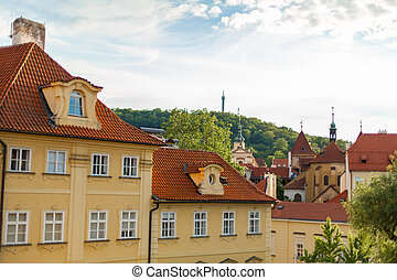alacsony, európa, prague., stones., építészet, strago, öreg, kövezet, épületek, megkövez, sokszínű, utcák, város