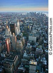 alacsonyabb, antenna, felett, york, új, manhattan, kilátás
