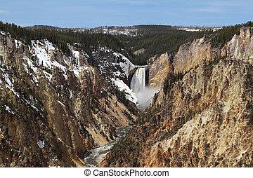 alacsonyabb, -, nemzeti park, vízesés, yellowstone