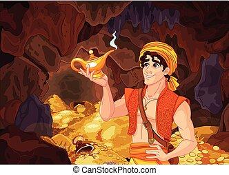 Aladdin and the Wonderful Lamp - Aladdin holds his magic...