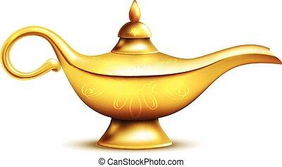 Aladdin Lamp Isolated Icon - Aladdin yellow iron lamp...