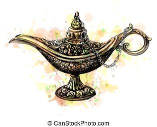 Aladdin Magic Lamp - Magic lamp with Eid Mubarak...