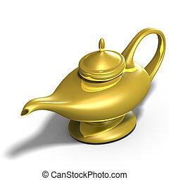 aladdins, lámpara, mágico
