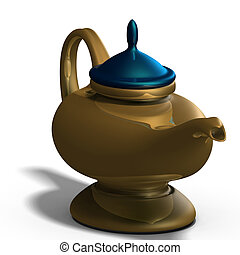 Aladdins magical lamp - the magical lamp of Aladdin. 3D...
