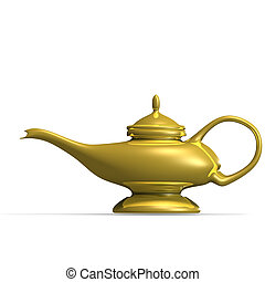 the magical lamp of Aladdin. 3D render with clipping path and shadow over white