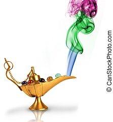 aladdin\'s, magie lamp, met, parels, en, kleurrijke, rook,...