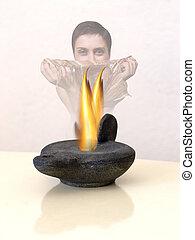 Aladin\\\'s lamp - Mystique spirit from lamp - focus on...