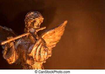 alado, ángel, tocar la flauta