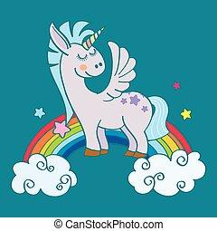 alado, arco irirs, unicornio, dibujado, mano