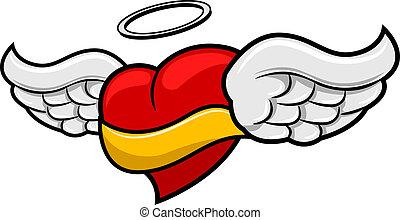 alado, corazón, bandera