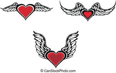 alado, corazón, conjunto
