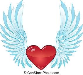 alado, corazón