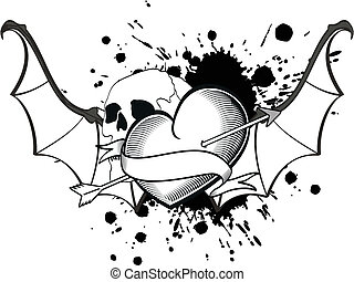 alado, corazón, murciélago, tshirt9, tatuaje