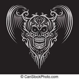 alado, cráneo, florido