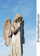 alado, estatua ángel, en, cementerio