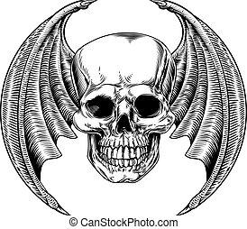 alado, estilo, aguafuerte, cráneo