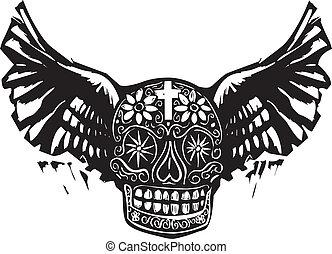alado, muerto, cráneo, día