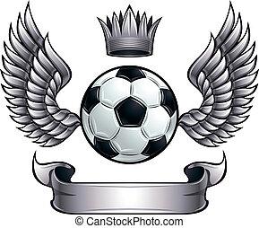 alado, pelota del fútbol, emblem.
