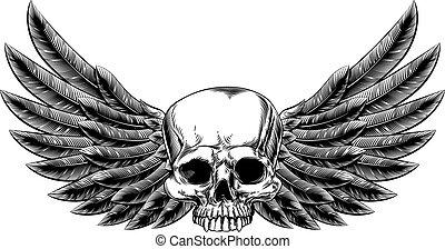 alado, vendimia, woodcut, cráneo