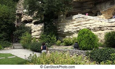 Aladzha Monastery in the mountains. Varna. Bulgaria. 4K. -...