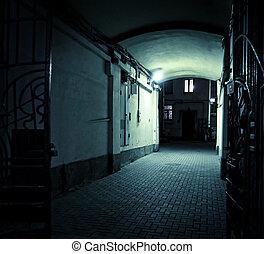 alagút, üres, éjszaka