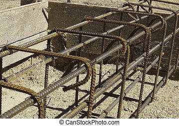 alakít, beton, bekötött, rebar