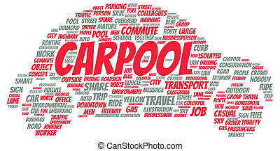 alakít, carpool, szó, felhő
