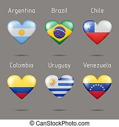 alakít, déli, szív, zászlók, amerika, országok