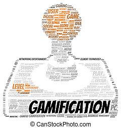 alakít, gamification, szó, felhő
