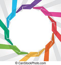 alakít, kéz, csinál, színes, kerek