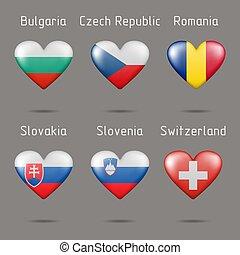 alakít, piros, zászlók, európai, országok