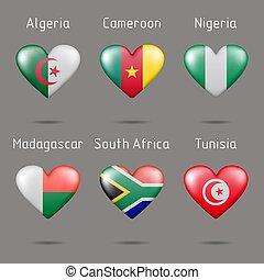 alakít, szív, zászlók, afrikai, országok