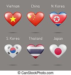 alakú, kelet, szív, zászlók, southeast asia, országok