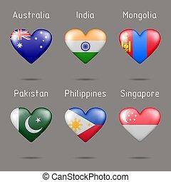 alakú, szív, zászlók, különböző, országok